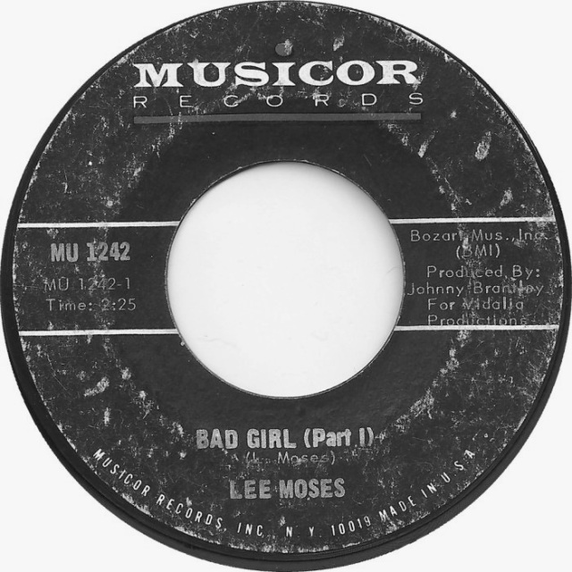 """Lee Moses """"Bad Girl (Pt.I)"""" single for Musicor Records"""