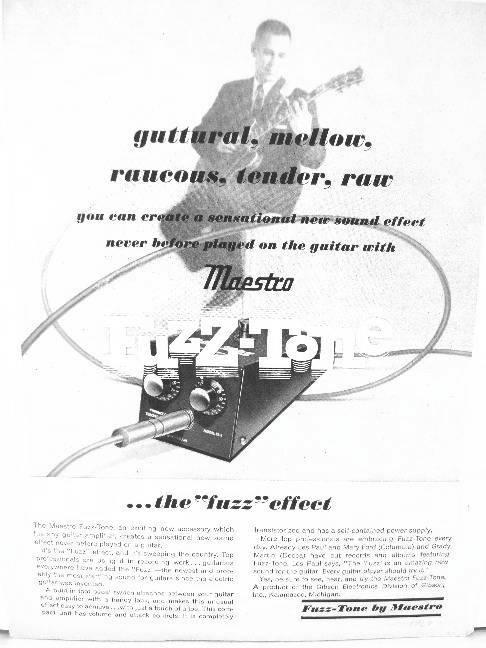 Original Gibson Maestro Fuzz Tone FZ-1 Advertisement.